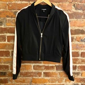 EXPRESS Sporty Cropped Bomber Jacket